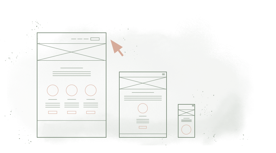 3 illustrated wireframes of different devices on a transparent background