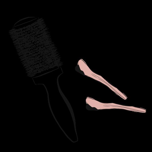 A custom illustration of a a hair brush and clips for eve salon website