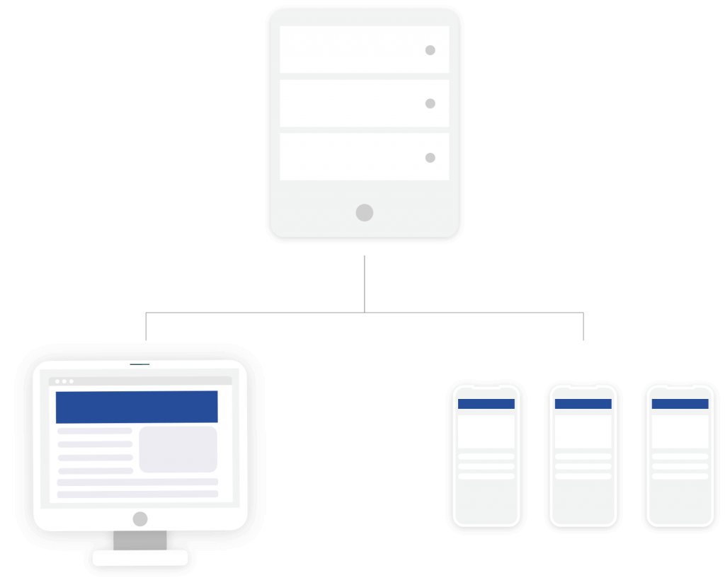 A graphic of a computer, tablet and phone connected