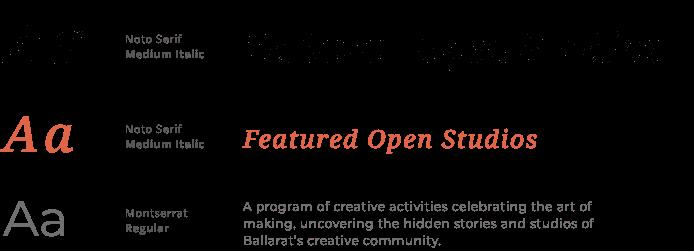 Open studios typography design