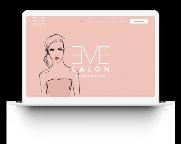 Eve salon website screen designed by tech studio