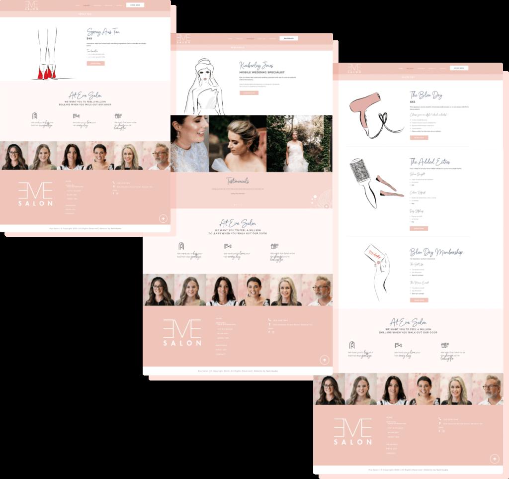 Eve salon website screens designed by tech studio