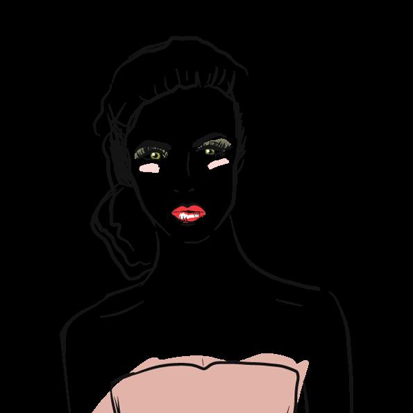 Custom illustration for eve salon, a woman's profile with hair in a bun