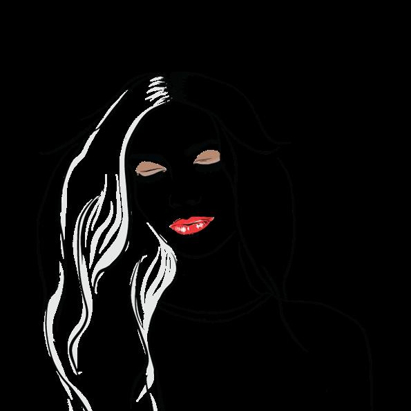 Custom illustration for eve salon, a woman's face with long hair