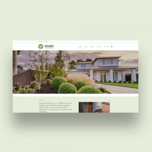 A website preview of the Talored Gardens website